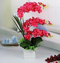 Künstliche Fake Blumen Dekoration Esstisch Home Zubehör Rote Orchidee -Ktfactory