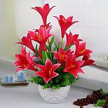 Künstliche Fake Blumen Dekoration Esstisch Home Zubehör rote Lilie -Ktfactory