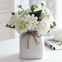 Künstliche Fake Blumen Dekoration Esstisch Home Zubehör Rose Keramik Glas Vasen Kit Weiß -Ktfactory