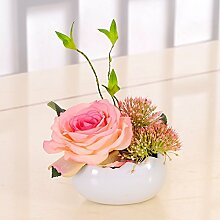 Künstliche Fake Blumen Dekoration Esstisch Home Zubehör Rose Vase Mini Pink -Ktfactory