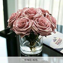 Künstliche Fake Blumen Dekoration Esstisch Home Zubehör silk Blume Rose Dekanter Rosa -Ktfactory