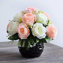Künstliche Fake Blumen Dekoration Esstisch Home Zubehör Silk Flower Kit Keramik Vasen Rose Rosa Weiß -Ktfactory