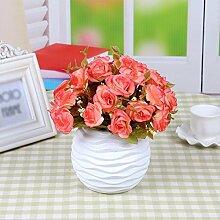 Künstliche Fake Blumen Dekoration Esstisch Home Zubehör silk Blume Rose Orange -Ktfactory