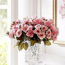 Künstliche Fake Blumen Dekoration Esstisch Home Zubehör silk Blume rosa Blüten Single Sticks Pink -Ktfactory