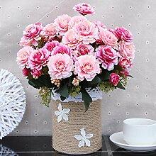 Künstliche Fake Blumen Dekoration Esstisch Home Zubehör Stroh Kit Pink -Ktfactory