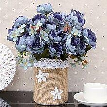 Künstliche Fake Blumen Dekoration Esstisch Home Zubehör Stroh Kit Blau -Ktfactory