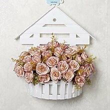 Künstliche Fake Blumen Dekoration Esstisch Home Zubehör Wandhalterung Blumenkörbe Blumen Kit silk Blume Rosa -Ktfactory