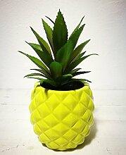 Künstliche Getopfte Sukkulente 19,8cm Porzellan Topf Ananas Form Home & Garden Dekoration grün