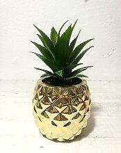 Künstliche Getopfte Sukkulente 19,8cm Porzellan Topf Ananas Form Home & Garden Dekoration gold