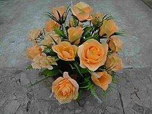 künstliche Grabgesteck Rosen Hortensien Aprico
