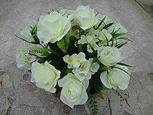 künstliche Grabgesteck Rosen /Hortensien weiss