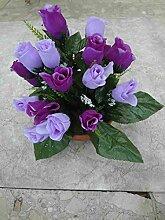 künstliche Grabgesteck Rosen Purpur