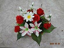 künstliche Grabgesteck Rosen Tigerlilie rot/weiss