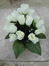 künstliche Grabgesteck Rosen Weiss