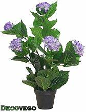 Künstliche Hortensie Hydrangeaceae Kunstpflanze Pflanze Lila Violett mit Topf 60cm Decovego