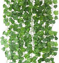 Künstliche Kletterpflanze 80ft-12strands Seide Englisch Efeu Girlande Arrangement Faux Fake Flower grün Blätter Kranz Home Kitchen Innen Außen Garten Büro Hochzeit Wand Banister Decor Grape leaves