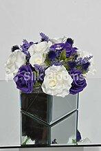 Künstliche Lila und Weiß Rose Tisch Arrangement mit Spiegel Cube und Disteln