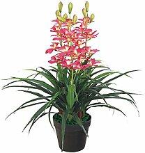 Künstliche Orchidee Kunstpflanze Pflanze Rosa mit Topf 100cm Decovego