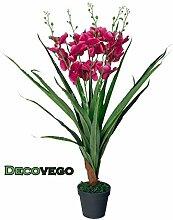 Künstliche Orchidee Kunstpflanze Pflanze Rosa Rot Pink mit Topf 80cm Decovego
