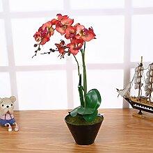 Künstliche Orchideen im Topf Rot mit 3 Rispen