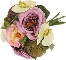 Künstliche Pfingstrose Orchidee Blumenstrauß Seide Blume Pflanze Hochzeit Partei Dekor - Lila, L
