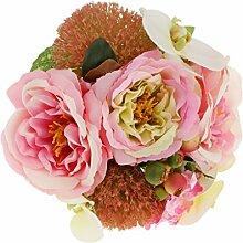 Künstliche Pfingstrose Orchidee Blumenstrauß Seide Blume Pflanze Hochzeit Partei Dekor - Rosa, L