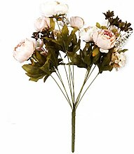 Künstliche Pfingstrose Silk Blumenstrauß Hochzeit Hause Dekoration (Helle Pink)