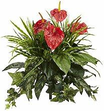 Künstliche Pflanze, 61 cm, Anthurium, 2 Stück, Ro