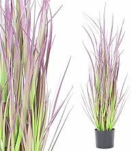 Künstliche Pflanze Deko Schilfgras im Topf 90 cm hoch in grün-lila