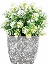 Künstliche Pflanze mit Raureif im Übertopf
