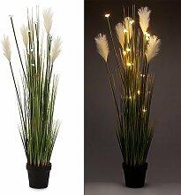 Künstliche Pflanze Pampasgras inkl. LED-Beleuchtung und Timer - Outdoor geeignet - Kunstblumen Gras