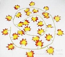 Künstliche Pflanzen 181Füße–24bunte rot Ahorn Vine Ivy Seide Greenery Hochzeit Party Girlanden Big Value Künstliche Kletterpflanze Wand Dekoration, Ordinary red maple leaves, 24 PCS