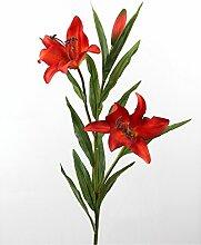 Künstliche Prachtlilie mit 2 Blüten, real touch, rot, 88 cm, Ø 15 cm - Kunstblume / Künstliche Lilie - artplants