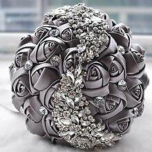 Künstliche Rose S Bridal Hochzeit Bouquet , gray