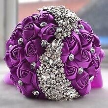 Künstliche Rose S Bridal Hochzeit Bouquet , purple