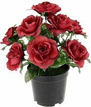 Künstliche Rosen im Topf Seidenblumen Kunstblumen