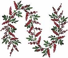 Künstliche rote Beeren-Girlande mit grünen