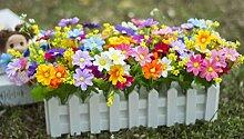 Künstliche Seide Mini Blumen und Pflanzen für Indoor Dekoration (sehr viel Farbe) in einem Topf Fake Hanging Vine Pflanze Blätter Girlande Haus Garten Wand vergossen 30cm , C