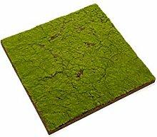 Künstliche Styropor Fliese mit Moos, grün-braun, 50x50cm - Deko Moos / Kunst Moos - artplants