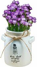 Künstliche Topfpflanze Blumentopf, OUNONA Kunstblume Kunstpflanze im Blumentopf für Zimmer Tisch Deko (Lila)