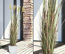 Künstliche Topfpflanze Gras in Braun blühend,