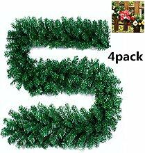 Künstliche Weihnachtsgirlande / Tannenzweig-Dekoration, Grün, für Kamin Treppe Weihnachtsbaum Garten, 270cm 4pack