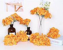 künstlichen Blumen 100Hortensie Seide tafelaufsätze und Arrangement Real Touch Blumen für Home Decor Hochzeit Parteien Orange