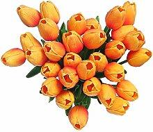 Künstlicher Blumen Fake Tulip Latex Material echt Touch für Hochzeit Zimmer Home Hotel Party Dekoration und DIY Decor, Orange, 20pcs