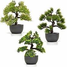 Künstlicher Bonsai Baum im Set Kunstpflanzen im