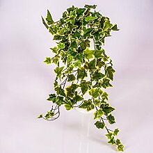 Künstlicher Efeubusch mit 330 Blättern, grün - weiß, 70 cm - Künstliche Pflanzen Efeu / Kunstefeu - artplants
