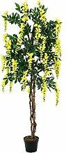 Künstlicher Goldregenbaum, 1370 Blätter, Echtstamm, 820 Blüten, gelb, 150 cm - Künstliche Pflanze / Deko Blumen - artplants