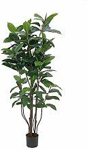 Künstlicher Gummibaum mit 145 Blättern, 9-stämmig, 150 cm - Künstliche Zimmerpflanze / Deko Baum - artplants