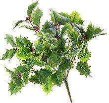 Künstlicher Ilex Busch mit Beeren, 9 Zweige, 90 Blätter, 45 cm - Künstlicher Ilex / Weihnachtsdekoration - artplants