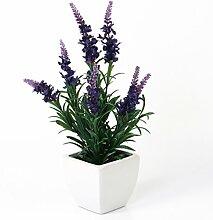 Künstlicher Lavendel im Keramiktopf, dunkelviolett, 35 cm - Hochwertige Kunstblume